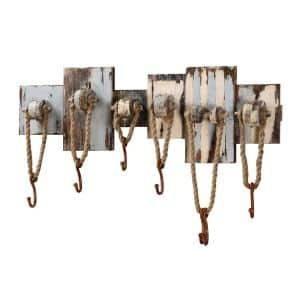 32.5 in. wood wall Art with 7-Hooks