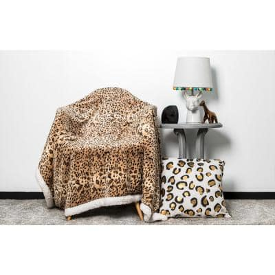 Izabella Cheetah 50 in. W x 60 in. L Sherpa Throw with Hood