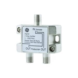 Digital 2-Way Coaxial Cable Splitter, F-Type Connections, Silver
