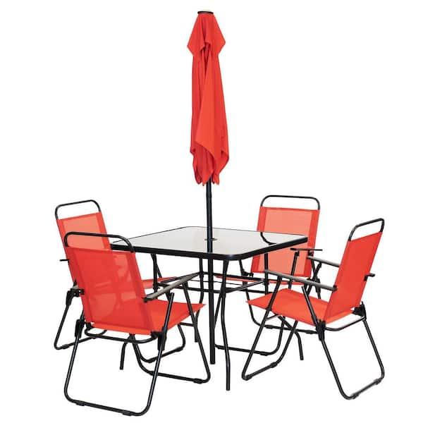 Patio Premier 6 Piece Metal Square, Red Patio Table Set