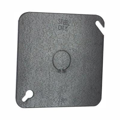 2-Gang 4 in. Square Metal Electrical Box Cover, Flat with 1/2 in. Knockout (Case of 50)