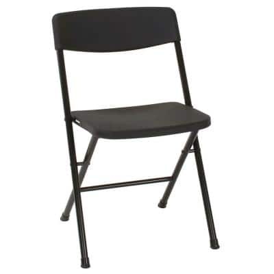 Black Plastic Seat Stackable Folding Chair (Set of 4)