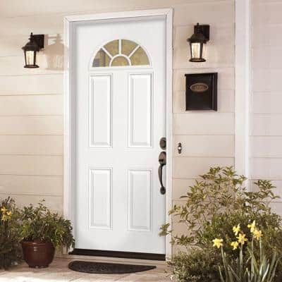 32 in. x 80 in. Premium Fan Lite Left Hand Inswing Primed Steel Prehung Front Exterior Door with Brickmold