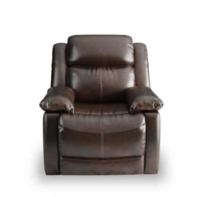 PU Leather Heated Massage Recliner Brown Power Lift Recliner with 8 Vibration Points