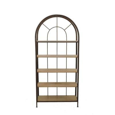 78 in. Natural/Brown Metal 5-shelf Accent Bookcase with Open Back