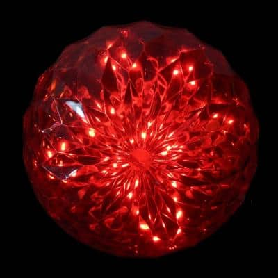 20-Count Red LED Hanging Crystal Sphere Ball Outdoor Christmas Decoration