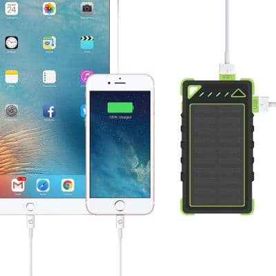 Solar Powered Smartphone Charger with 8000mAh Li-Polymer Battery and 5-Watt LED Light