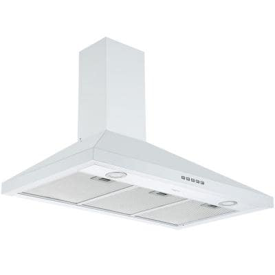 36 in. 450 CFM Convertible Wall-Mounted Pyramid Range Hood in White