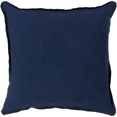 Zevgari Navy Solid Polyester 18 in. x 18 in. Throw Pillow