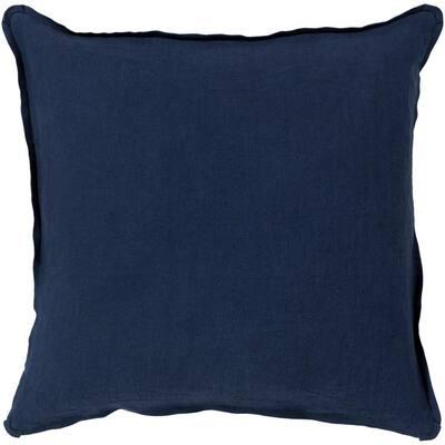 Zevgari Navy Solid Polyester 22 in. x 22 in. Throw Pillow