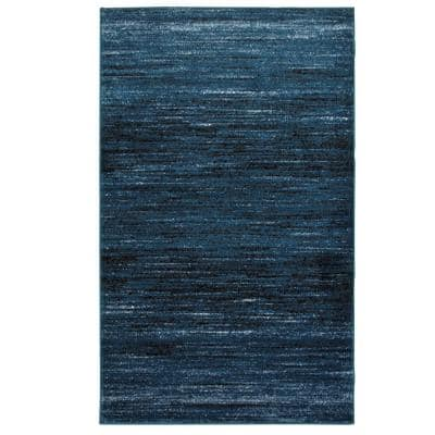 Matrix Soft Blue/Black Rectangle 5 ft. 2 in. x 7 ft. 2 in. Indoor Area Rug
