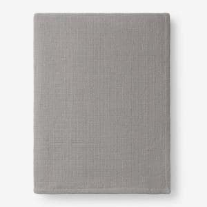Cotton Weave Mineral Gray Solid Queen Woven Blanket