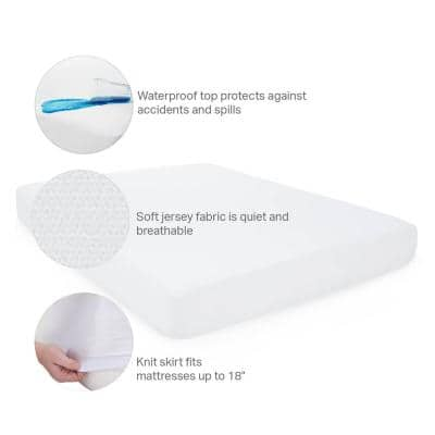 Fitted Jersey Mattress Protector With Noiseless Waterproof Barrier - Twin Xl