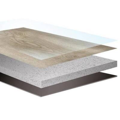 Rigid Core Vantage 7 in. W Grey Glimmer Waterproof Click Lock Vinyl Plank Flooring (17.5 sq. ft./carton)