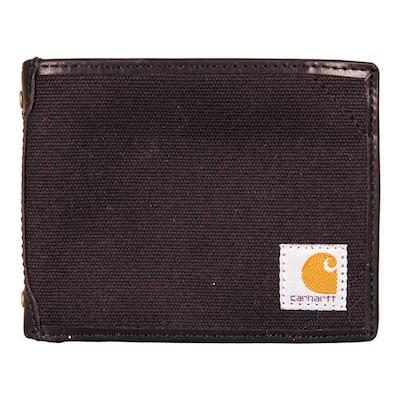Mens Canvas Black Passcase Wallet