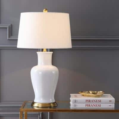 Julian 29 in. White/Gold Ceramic Table Lamp