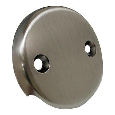 2-Hole Bathtub Overflow Faceplate Less Screws in Antique Nickel