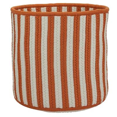 Orange 12 in. D x 12 in. W x 10 in. H Vertical Stripe Round Basket
