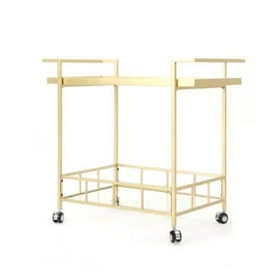 Selby Industrial Gold Iron and Glass Patio Serving Cart