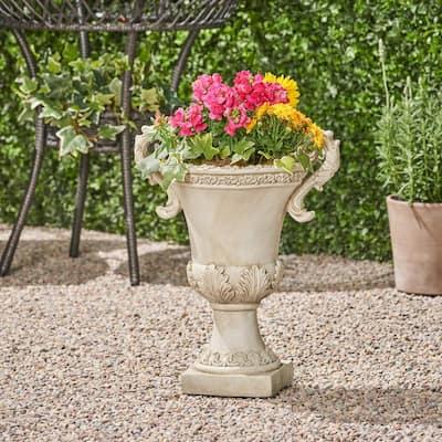 Delphine 15.5 in. x 11.25 in. Antique White Lightweight Concrete Outdoor Garden Urn Planter with Frond Accents