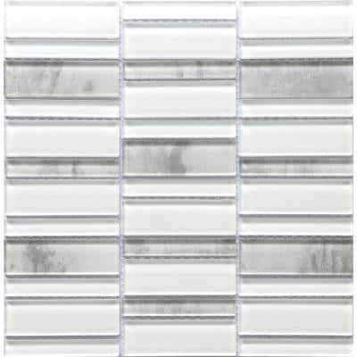 La Vie White 11.81 in. x 11.93 in. x 6mm Glass Mesh-Mounted Mosaic Tile (0.98 sq. ft.)