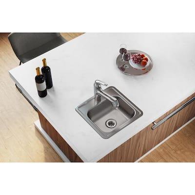 Dayton Stainless Steel 15 in. 1-Hole Drop-in Bar Sink