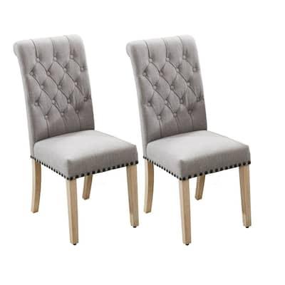 Light Grey Imitation Linen Fabric High Back Dining Chairs (Set of 2)