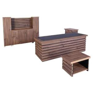 Modern Elise 87 in. Rustic Brown and Black Wood Desk Office Suite Furniture (Set of 4)