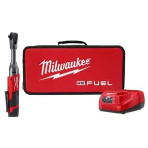 M12 FUEL 12-Volt Lithium-Ion Brushless Cordless 3/8 in. Extended Reach Ratchet Kit with One 2.0 Ah Batteries