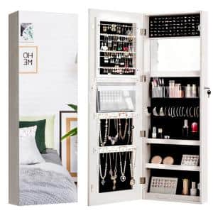 Wall and Door Mounted Jewelry Box Cabinet Lockable Storage Organizer with Frameless Mirror