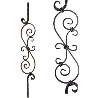 Tuscan Square Hammered 44 in. x 0.5625 in. Satin Black Large Spiral Scroll Solid Wrought Iron Baluster