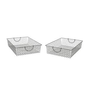 Stowaway 24.5 in. D x 16 in. W x 5.25 in. H Large Industrial Gray Steel Under Bed Wire Storage Bin Basket (2-Pack)