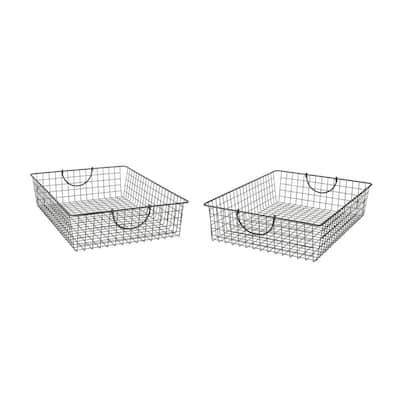 Stowaway 24.5 in. D x 16 in. W x 5.25 in. H Large Industrial Gray Steel Under Bed Wire Storage Bin Basket (2-Pack)