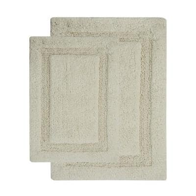 Regency 34 in. x 21 in. and 36 in. x 24 in. 2-Piece Bath Rug Set in Solid Ivory