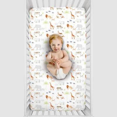 Orange Watercolor Jungle Animals Polyester Fitted Crib Sheet