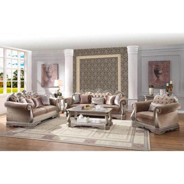 Homeroots Amelia 42 In Rose Velvet 3 Seater English Rolled Arm Sofa With Removable Cushions 348648 The Home Depot