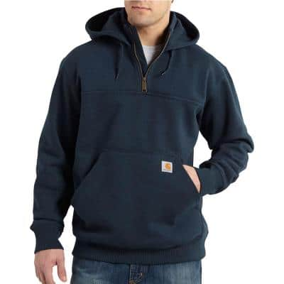 Men's Tall Extra Large New Navy Cotton/Polyester Rain Defender Paxton Heavyweight Hooded Zip Mock Sweatshirt