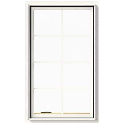 28 in. x 48 in. W-2500 Series White Painted Clad Wood Left-Handed Casement Window with Colonial Grids/Grilles