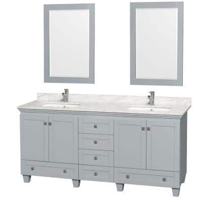 Acclaim 72 in. W x 22 in. D Vanity in Oyster Gray with Marble Vanity Top in Carrera White with White Basins and Mirrors