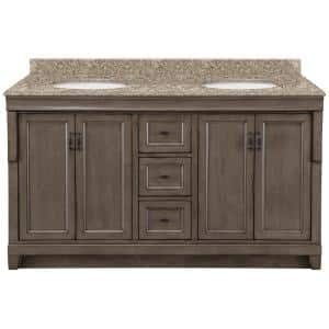Home Decorators Collection Naples 61 In X 22 In D Bath Vanity In Distressed Grey With Granite Vanity Top In Blue Pearl With Oval White Basin Nadga6021d Blp The Home Depot