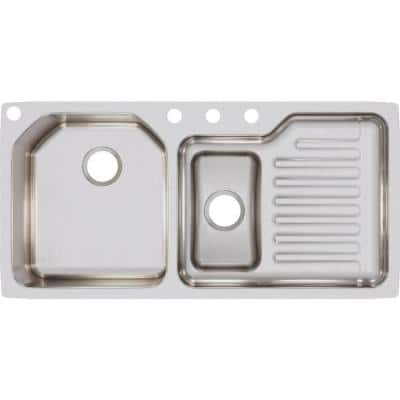 Lustertone Undermount Stainless Steel 42 in. Double Bowl Kitchen Sink with Right Drain Board