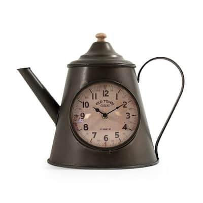 Dark Grey Distressed Iron Pitcher Table Clock