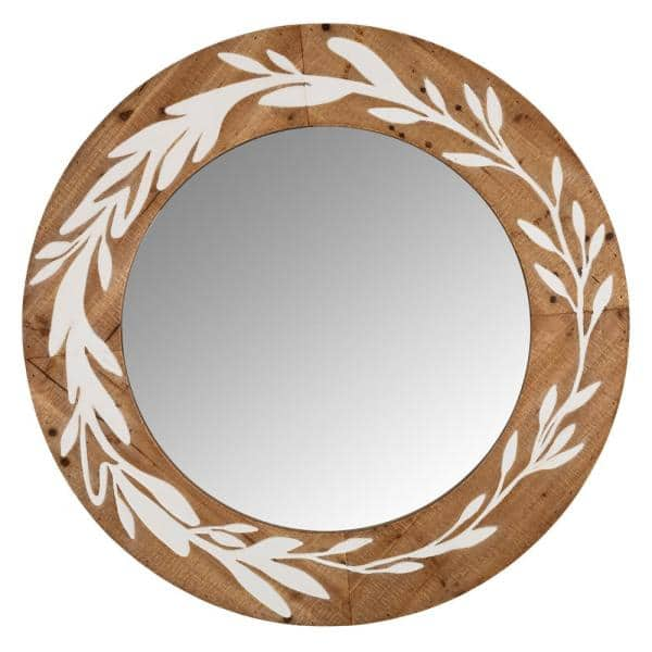 Stratton Home Decor Darcy Rustic Carved, Carved Wood Mirror Round