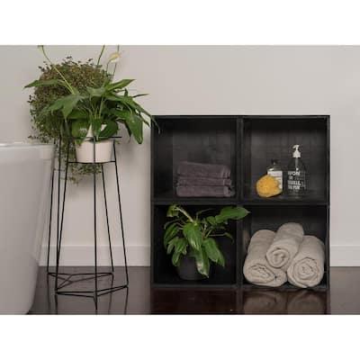 28 in. H x 28 in. W x 14 in. D Black Plastic 4-Cube Storage Organizer