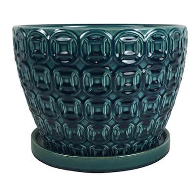 Mayer 12 in. x 8.66 in. Seafoam Ceramic Pot