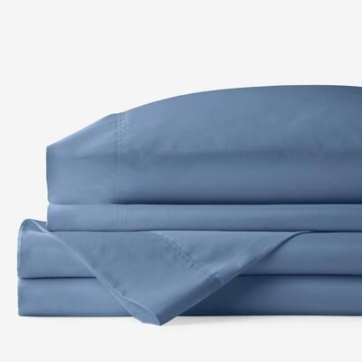 Company Cotton Bamboo 4-Piece Blue Horizon 300-Thread Count Sateen Queen Sheet Set
