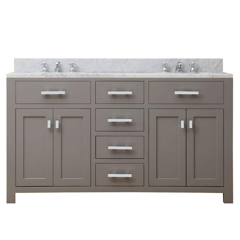 Water Creation 60 In W X 21 In D X 34 In H Vanity In Cashmere Grey With Marble Vanity Top In Carrara White Madison 60g The Home Depot