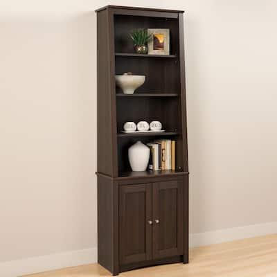 80 in. Espresso Wood 4-shelf Standard Bookcase with Doors