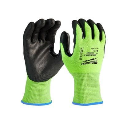 Large High Visibility Level 2 Cut Resistant Polyurethane Dipped Work Gloves (12-Pack)