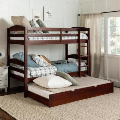 Solid Wood Twin over Twin Bunk Bed + Storage/Trundle Bed - Espresso